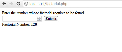 Factorial number in PHP Screenshot