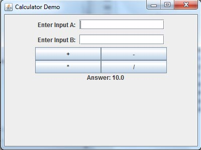 Simple Calculate in Java Screenshot